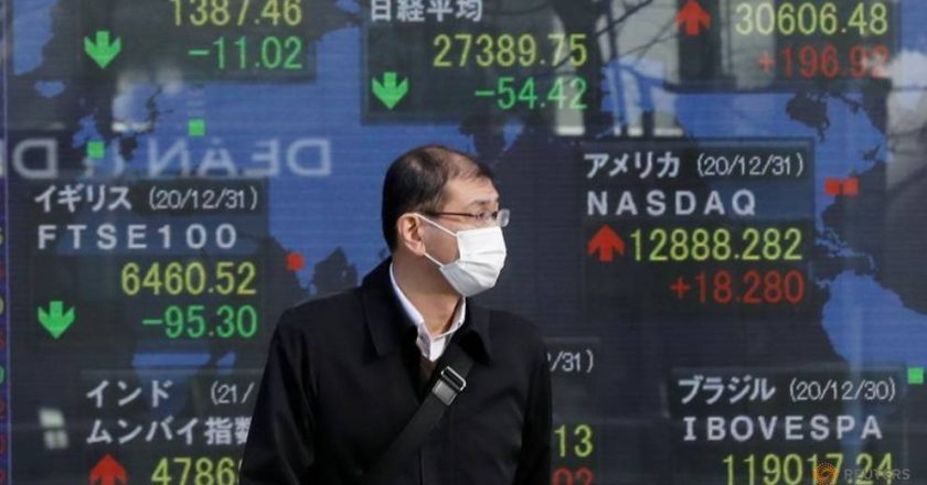 World shares down from record highs as COVID-19 cases top 90 million